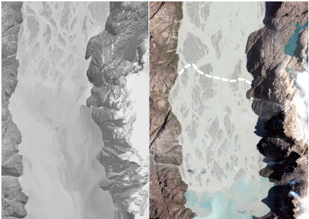The photo on the left shows a delta in West Greenland photographed in 1985 and on the right the same delta in 2010. It clearly shows how the delta has been extended by several kilometres over this 25-year period.