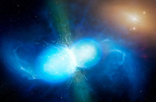 Colliding neutron start (Illustration: ESO)