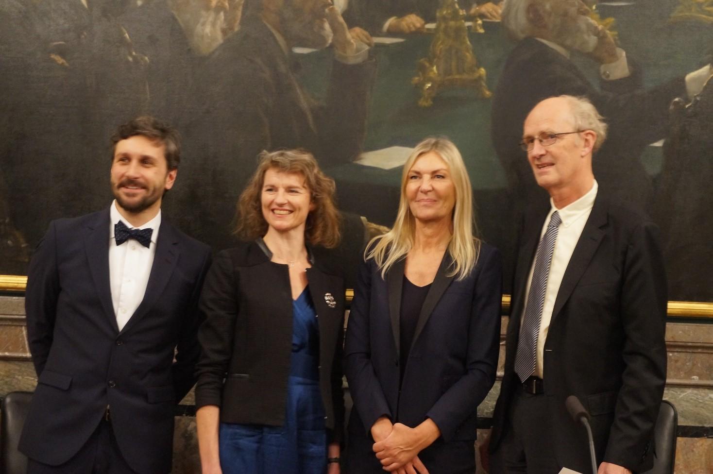 De fire prismodtagere. Fra venstre: Docent og universitetslektor Nicolo Dell'Unto, Professor Mette Birkedal Bruun, Arkitekt Dorte Mandrup og Professor emeritus Troels Engberg-Pedersen.
