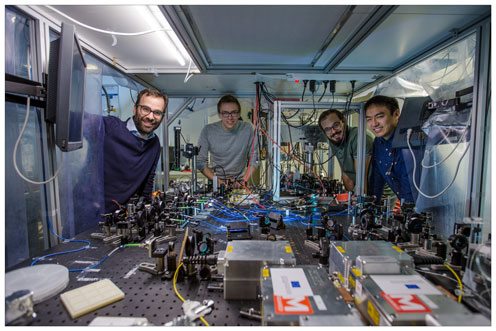 From left: Professor and team leader Albert Schliesser with researchers Dr. David Mason, Massimiliano Rossi and Junxin Chen. Photo: The Niels Bohr Institute.