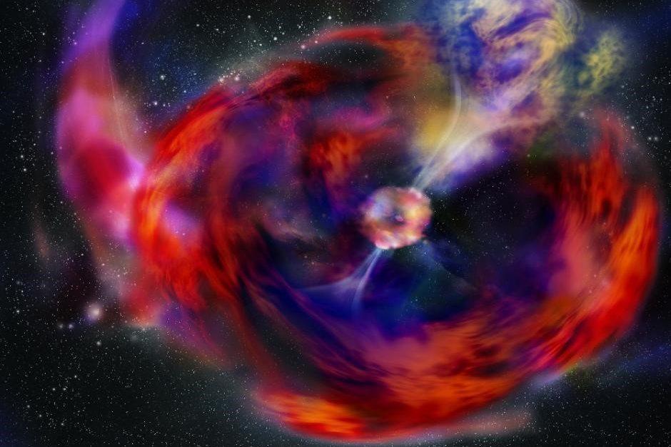Grafisk illustration af eksplosionen, når en stor stjerne dør.
