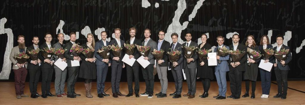 A picture of this year's Villum Young Investigators at the award ceremony at the Royal Library, Copenhagen.