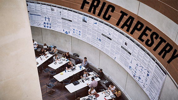 A picture of the FRIC tapestry in the cantine of Copenhagen Business School at Solbjerg Plads.