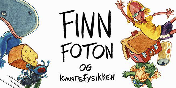 The picture is taken from the book's cover with the main character Finn Foton together with animals and other objects.