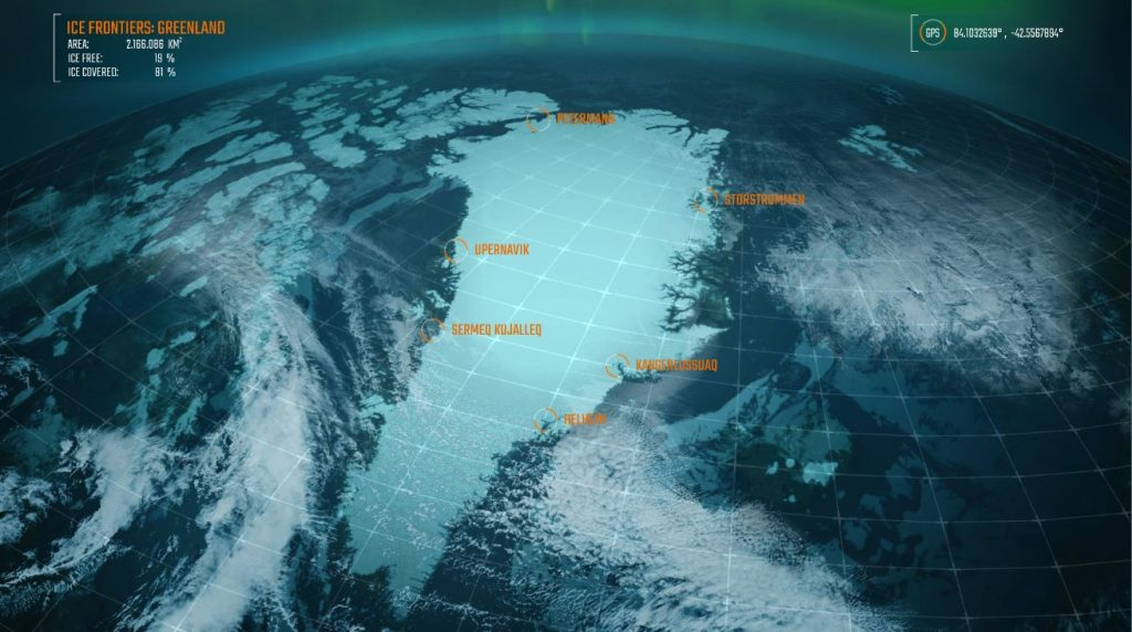 Here one can see a still photo from the program Ice Frontiers that remsebles a satelite picture of the globe from above.