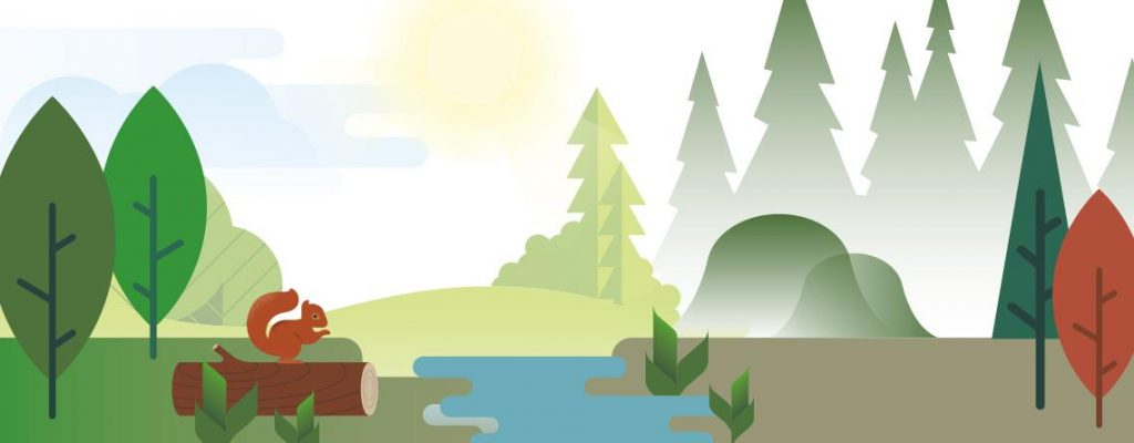 The image shows an animated illustration of a forest landscape.