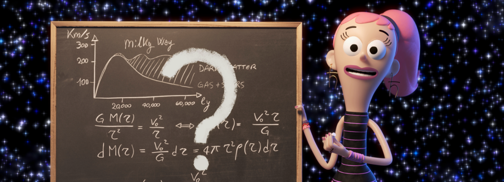 Here Quantum Kate is shown during an explanation of one of the many big questions in quantum physics.