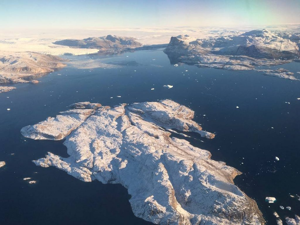 Aerial view of a melting glacier in Greenland.