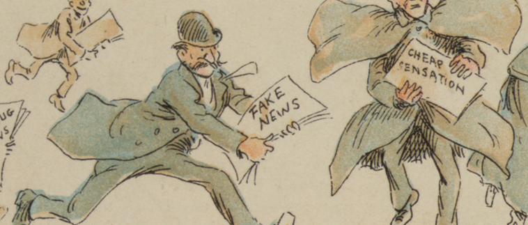 An image of the drawing of people in the 20th century running around distributing newspapers.