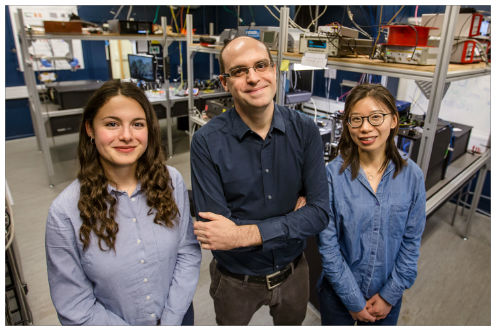 The picture shows the research team behind the quantum component from Hy-Q. From left: Camille Papon, Leonardo Midolo and Xiaoyan Zhou.