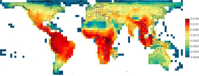 Billedet er en del af studiet fra CMEC og viser et verdenskort med grafiske farveindikationer på fordelingen af genetiske hotspots.