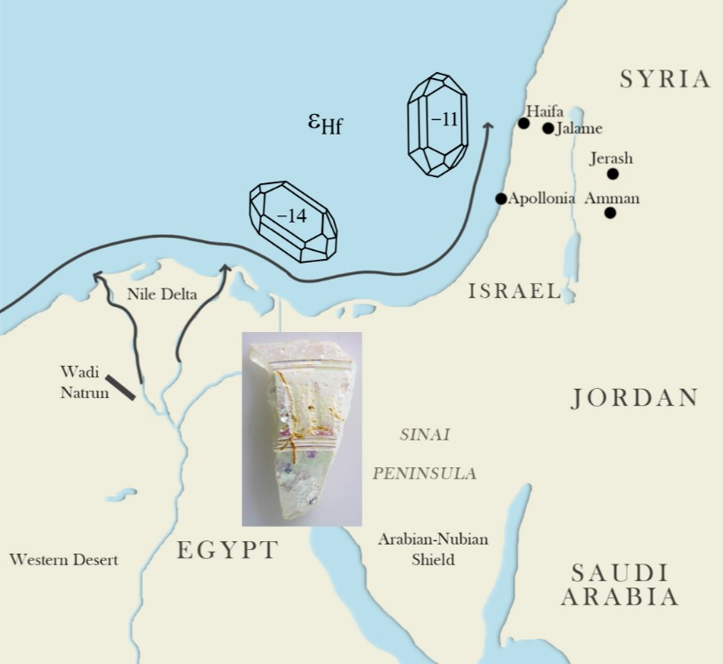 Simplified graphic showing long-shore transport of sands from the mouth of the Nile up along the Levantine coast.
