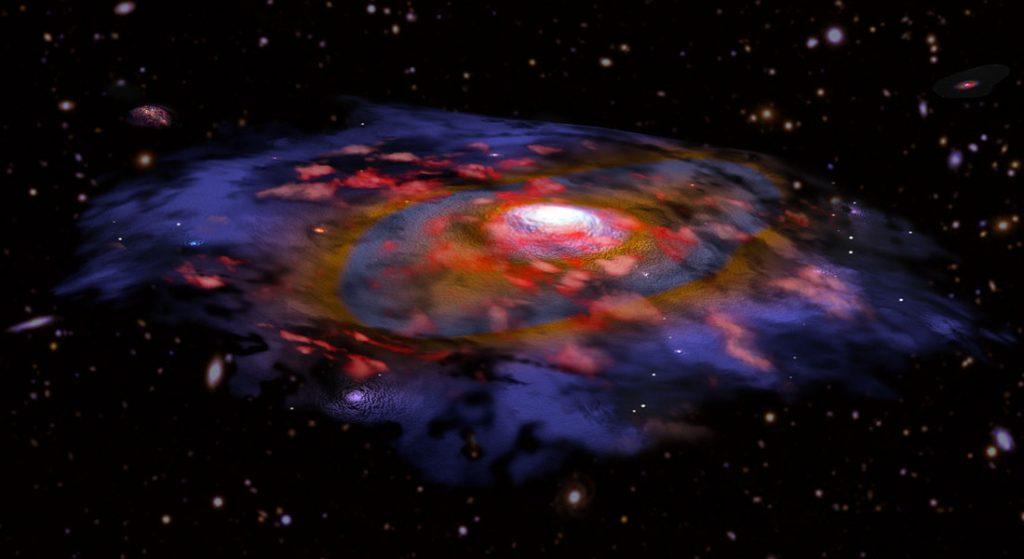 En kunstnerisk fremstilling af en roterende og støvfyldt fjern galakse.