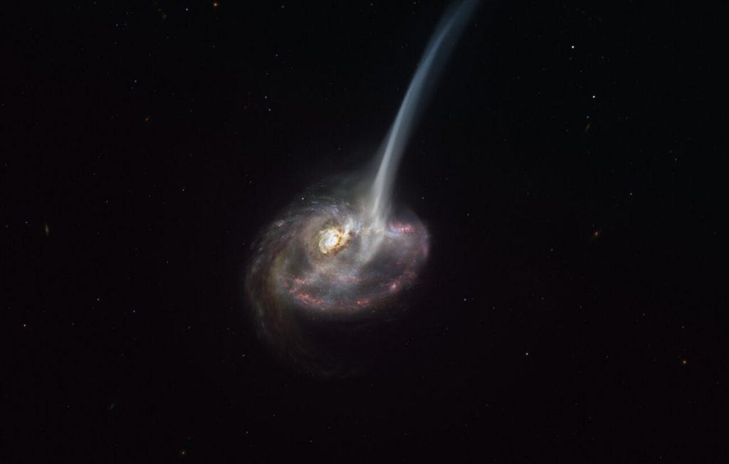 En kunstners fortolknings af ID2299 galaksen.