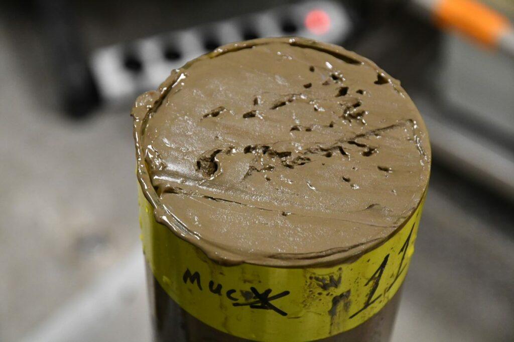 Billedet viser sediment med noget af det kviksølv, som blev fundet i forbindelse med en ekspedition til dybhavsgraven Kermadec Trench i Stillehavet i nov-dec 2017.