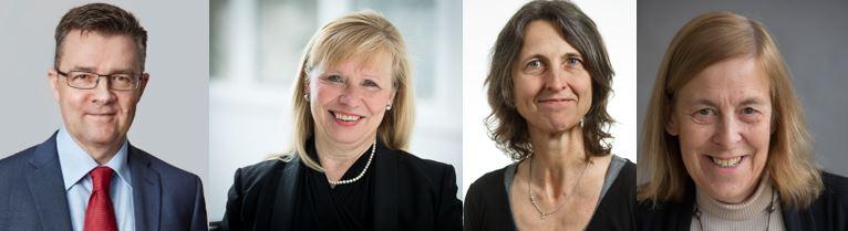 Fra venstre: professor Christian S. Jensen, professor Janet Thornton, professor Tine Brink Henriksen og professor Sirpa Jalkanen.